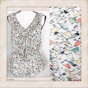 LC Lauren Conrad birdie print ruffled blouse Large